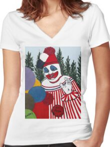 Pogo The Clown Women's Fitted V-Neck T-Shirt