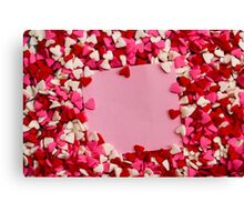 Valentine hearts with card in the middle Canvas Print
