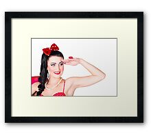 Beach babe in retro fashion swimsuit accessories Framed Print