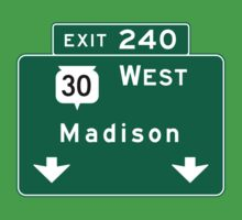 Madison, Highway Sign, Wisconsin One Piece - Short Sleeve