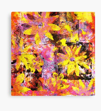 Flower in Black Square 13- Digitally Altered Print  Canvas Print