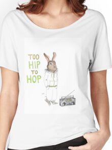 Too Hip to Hop - Hipster bunny, hip hop bunny, rabbit art, bunny watercolor, rap art Women's Relaxed Fit T-Shirt