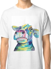 """""""Once in a Blue Moo"""" - blue cow watercolor Classic T-Shirt"""