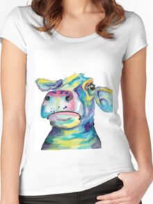 """""""Once in a Blue Moo"""" - blue cow watercolor Women's Fitted Scoop T-Shirt"""