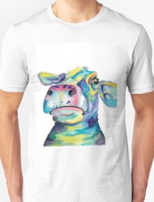"""""""Once in a Blue Moo"""" - blue cow watercolor Unisex T-Shirt"""