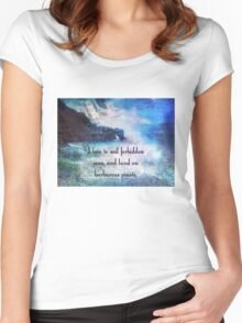 Travel Adventure quote by Herman Melville, nautical beach photo Women's Fitted Scoop T-Shirt