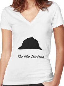 "Sherlock Holmes ""The Plot Thickens"" Women's Fitted V-Neck T-Shirt"