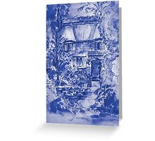 Thatched Cottage - Cyanotype of Original Painting  Greeting Card