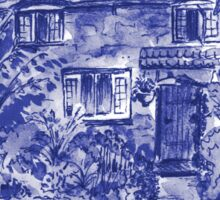 Thatched Cottage - Cyanotype of Original Painting  Sticker