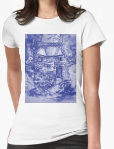 Thatched Cottage - Cyanotype of Original Painting  Womens Fitted T-Shirt