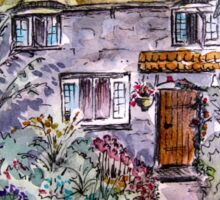 Thatched Cottage Watercolour and Ink Painting Sticker