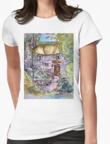 Thatched Cottage Watercolour and Ink Painting Womens Fitted T-Shirt