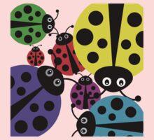 Ladybugs.  One Piece - Short Sleeve