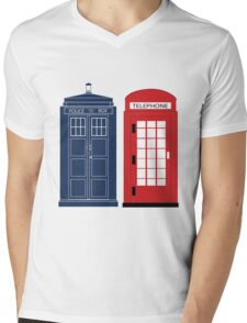Dr. Who Phone Booth Mens V-Neck T-Shirt