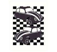Chequered Flag VW Beetles Art Print