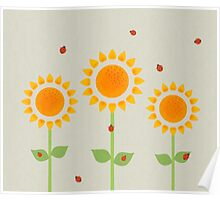 Sunflower and Ladybugs Poster