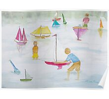 Children playing with sailboats. Poster