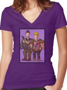 Beavis & Butthead Bebop & Rocksteady Women's Fitted V-Neck T-Shirt