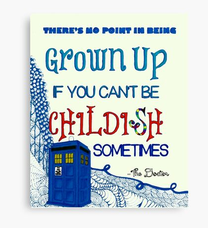Dr. Who Zentangle Quote Canvas Print