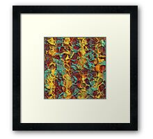 Stylish Colorful Artistic Faux Embossed 3D Polygon Mosaic Pattern Framed Print