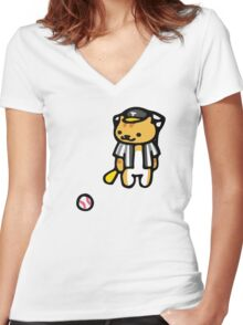 Joe DiMeowgio - Neko Atsume Women's Fitted V-Neck T-Shirt
