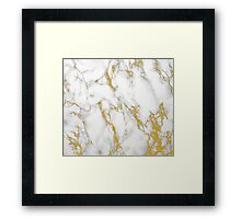 White Marble Stone Gold Accents Framed Print