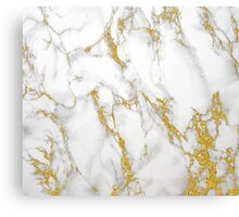White Marble Stone Gold Accents Canvas Print