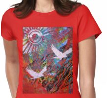 Flying Free Monoprint Womens Fitted T-Shirt