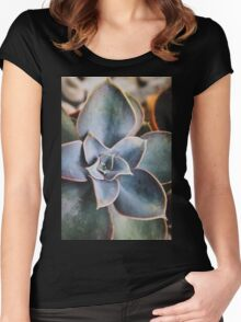 close up of succulent Women's Fitted Scoop T-Shirt