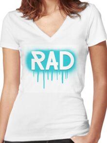 Rad Simple Graffiti Drip Women's Fitted V-Neck T-Shirt