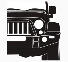 JK Jeep Wrangler with Bull Bar - Front Left Corner & Zoom - Sticker / Phone Case One Piece - Short Sleeve