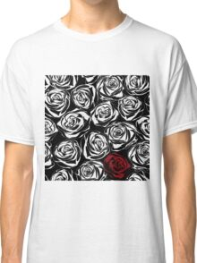Seamless pattern with black roses flowers.  Classic T-Shirt