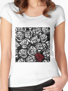 Seamless pattern with black roses flowers.  Women's Fitted Scoop T-Shirt