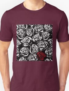 Seamless pattern with black roses flowers.  Unisex T-Shirt