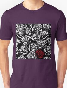 Seamless pattern with black roses flowers.  T-Shirt