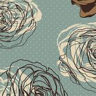 Vintage floral pattern with hand drawn roses by LourdelKaLou