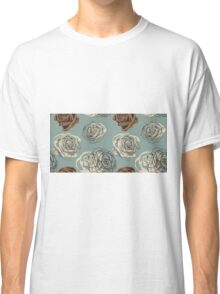 Vintage floral pattern with hand drawn roses Classic T-Shirt