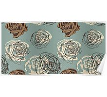 Vintage floral pattern with hand drawn roses Poster