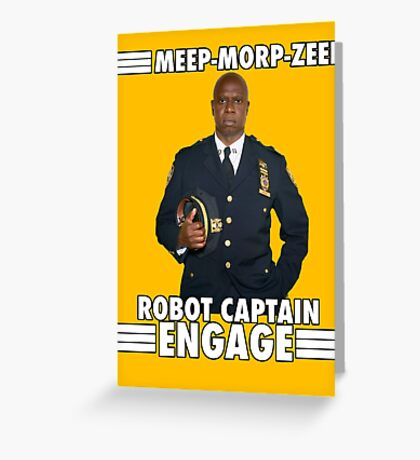Robot Captain Engage Greeting Card