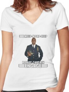 Robot Captain Engage Women's Fitted V-Neck T-Shirt