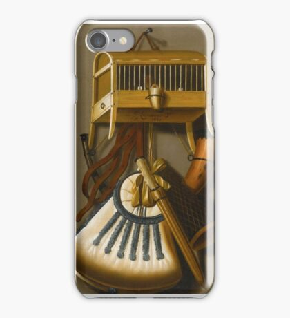 Johannes Leemans A TROMPE L'ŒIL STILL LIFE OF HUNTING EQUIPMENT AND A CAGED BIRD HANGING FROM A WALL. iPhone Case/Skin