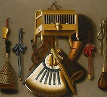 Johannes Leemans A TROMPE L'ŒIL STILL LIFE OF HUNTING EQUIPMENT AND A CAGED BIRD HANGING FROM A WALL. by Adam Asar
