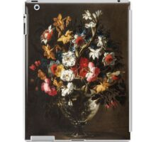 Juan de Arellano - Daffodils, Tulips, Carnations, Roses and an Iris in a Glass Vase Daffodils, Roses and other Flowers in a Glass Vase iPad Case/Skin