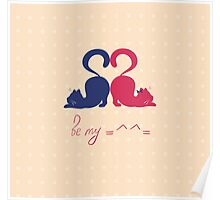 Cats in love, cats lovers, Valentine's Day Poster