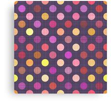 Purple Hot Pink Orange Yellow Polka Dots Pattern Canvas Print