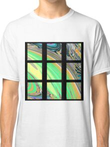 Black Window with Colorful Marbled Panels Classic T-Shirt