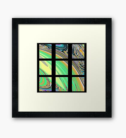 Black Window with Colorful Marbled Panels Framed Print