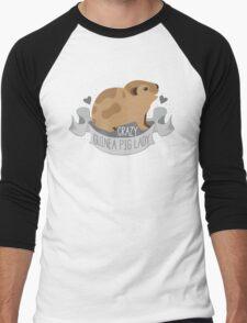 Crazy Guinea Pig Lady (Banner) Men's Baseball ¾ T-Shirt