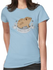 Crazy Guinea Pig Lady (Banner) Womens Fitted T-Shirt