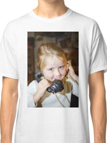 Cute preschooler girl talking by old vintage retro telephon, closeup portrait Classic T-Shirt